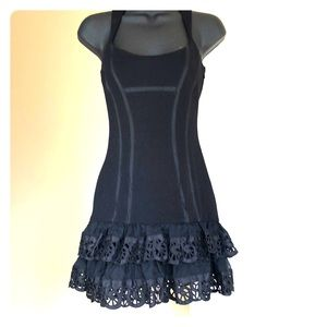 BEBE sz 4 black cocktail with ruffles sexy!